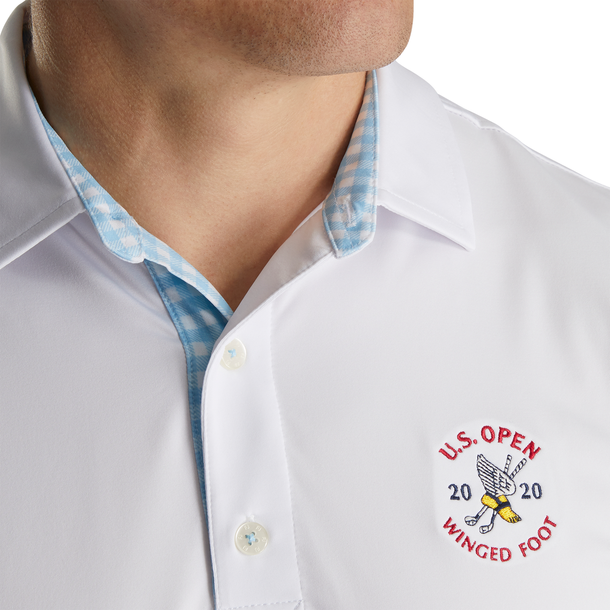 2020 U.S. Open Athletic Fit Lisle Solid Gingham Trim Self Collar-Previous Season Style