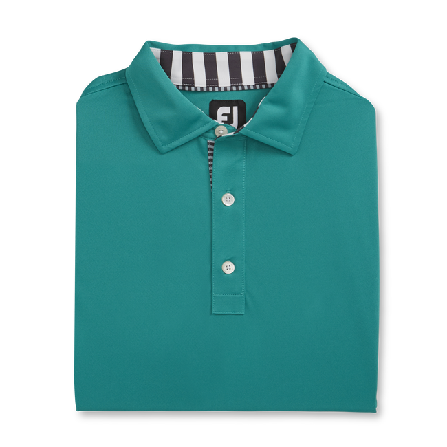 Solid Pique with Stripe Trim Self Collar