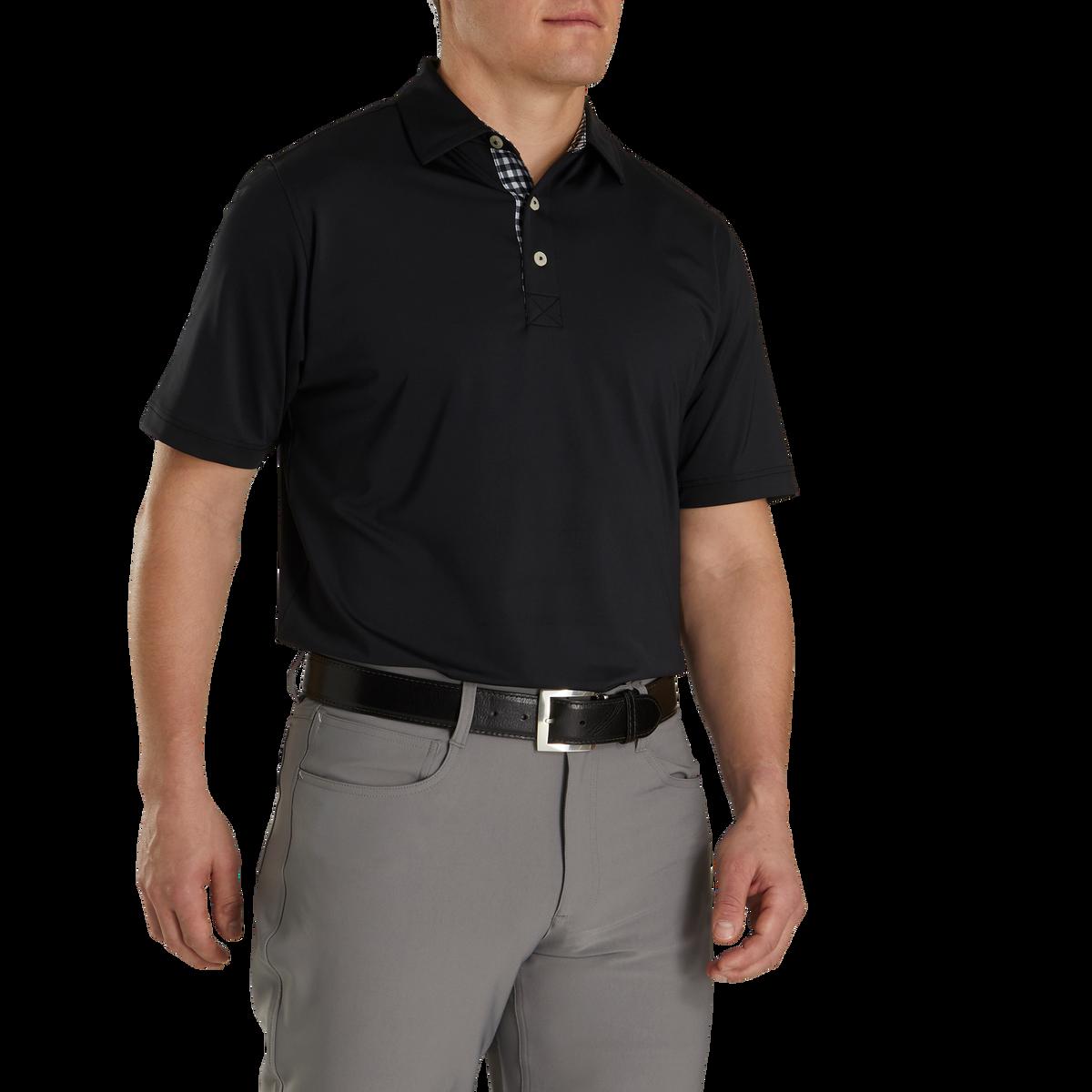 Athletic Fit Lisle Solid Gingham Trim Self Collar