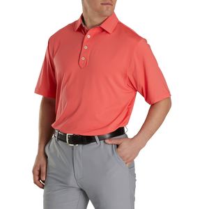 What is a Golf Shirt - FootJoy Men's Lisle Solid Self Collar in Coral / Slate Contrast Trim size M