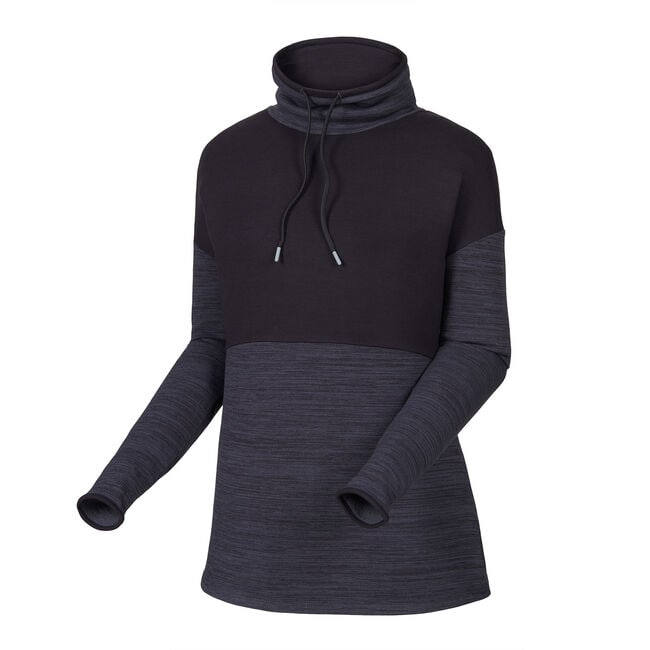 Pieced Funnel Collar Mid-Layer Women