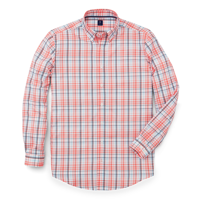 Stretch Twill Woven Plaid Shirt-Previous Season Style