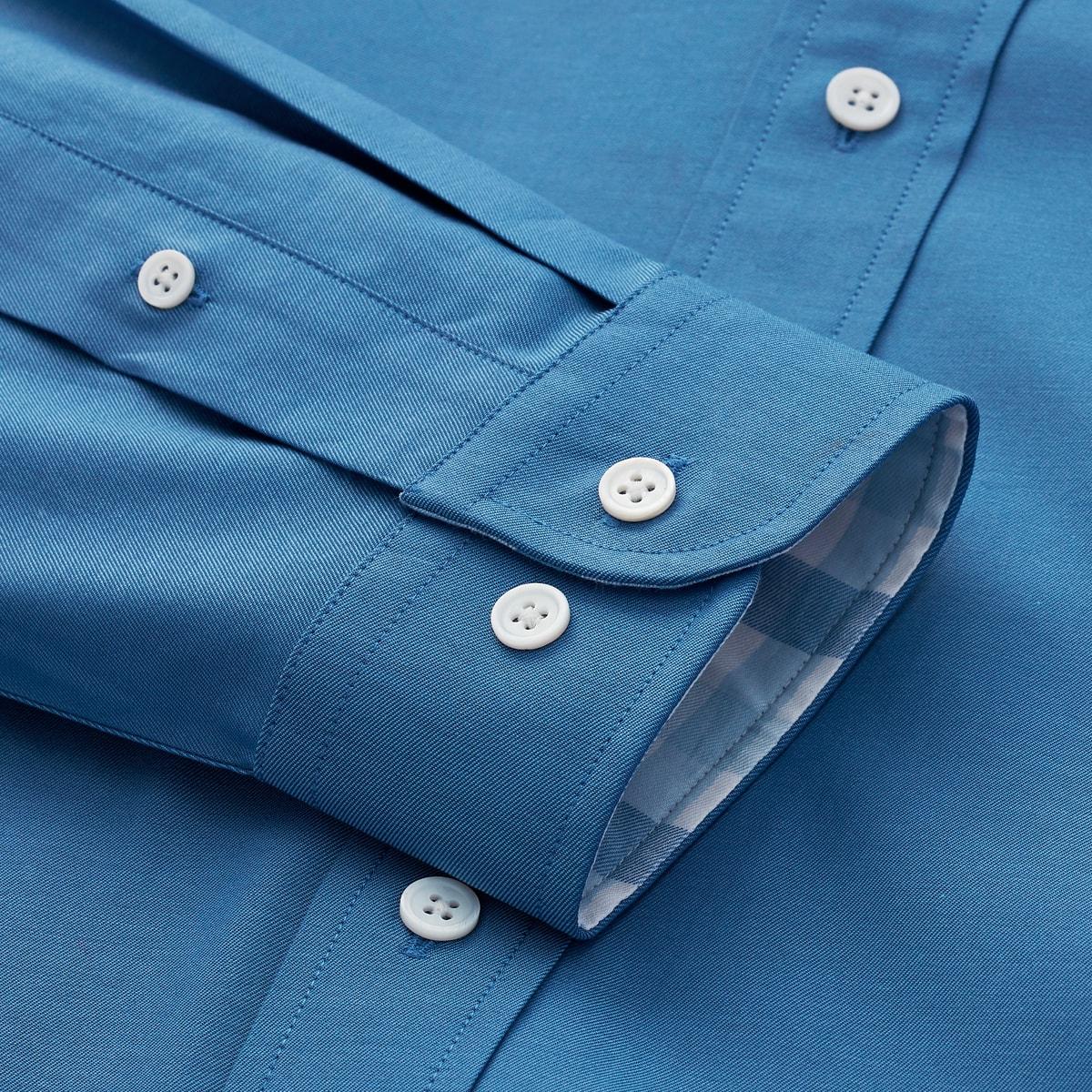 Stretch Twill Woven Plaid Trim Shirt