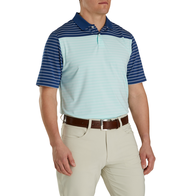 Athletic Fit Lisle Color Block Stripe Knit Collar