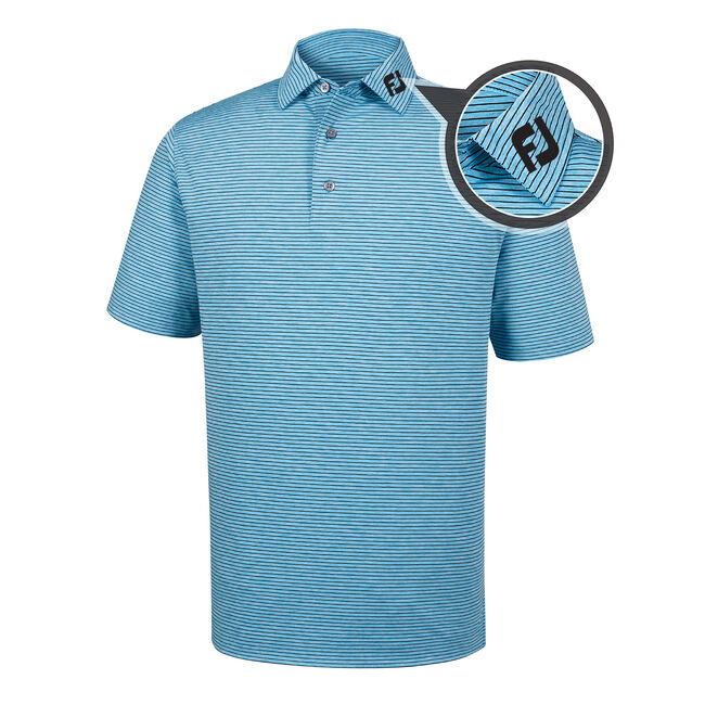 Heather Pinstripe Lisle Self Collar - FJ Tour Logo