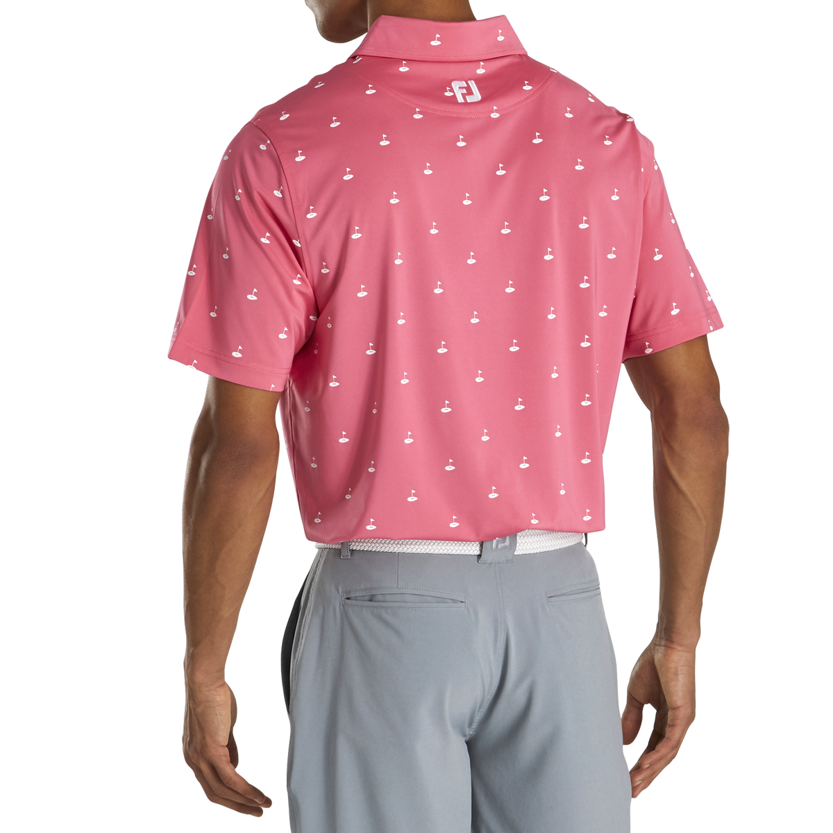 Athletic Fit Lisle Golf Print Self Collar