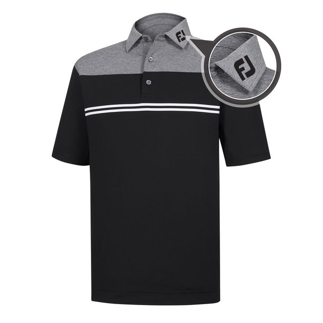 Heather Color Block Lisle Self Collar - FJ Tour Logo
