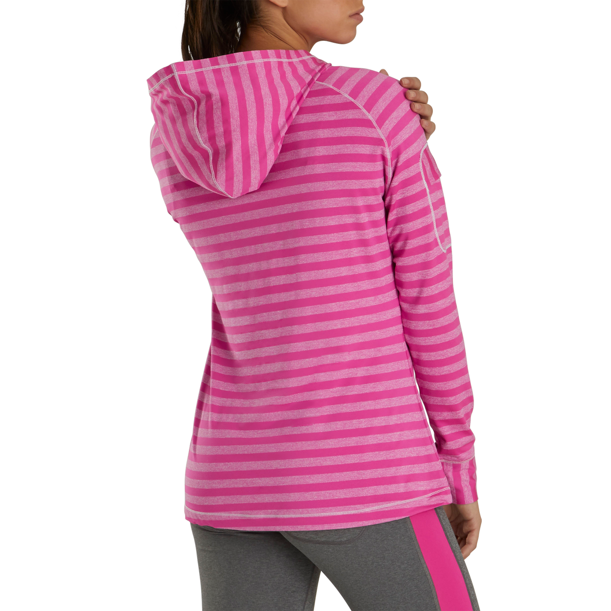 Jersey Melange Pullover Hoodie Women-Previous Season Style