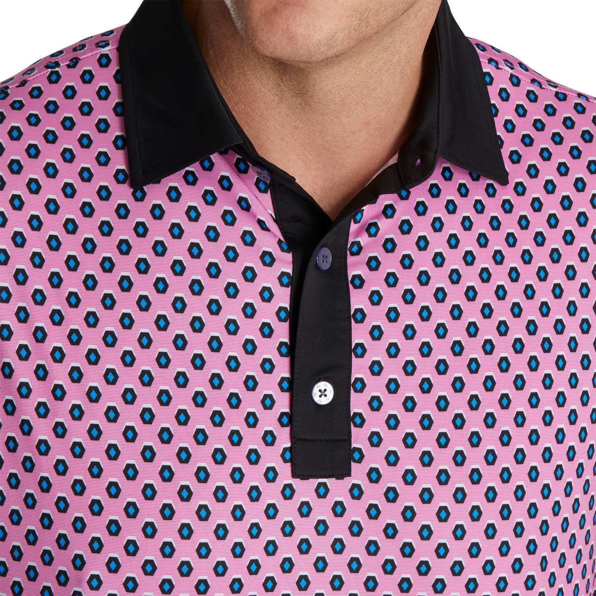 Geometric Print Lisle Self Collar