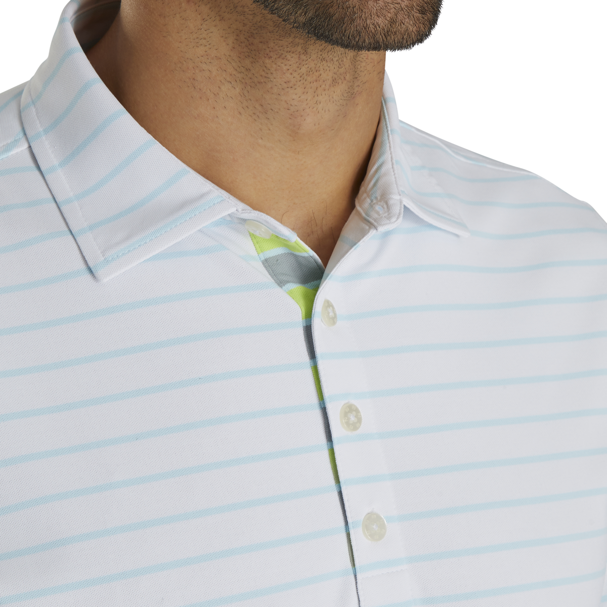 Pique Mixed Stripe Self Collar