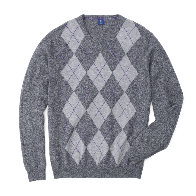 Cashmere Argyle V-Neck Sweater-Previous Season Style
