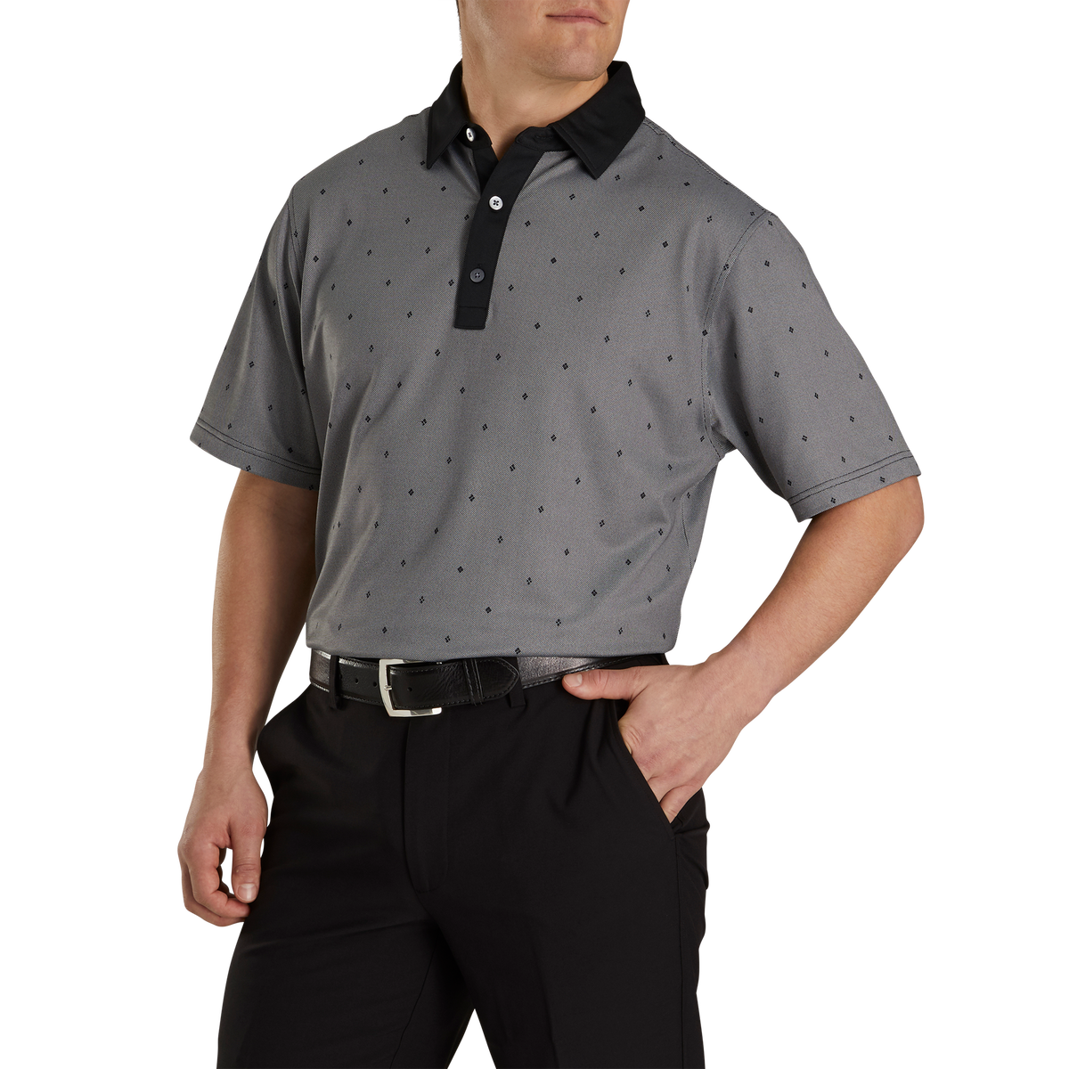 Birdseye Argyle Print Self Collar