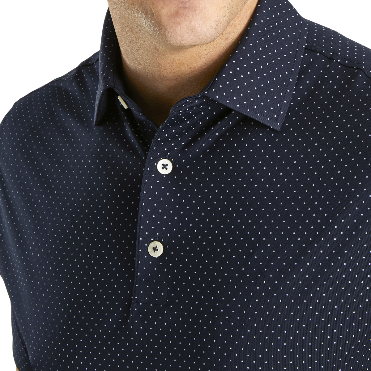 Stretch Lisle Dot Print Self Collar