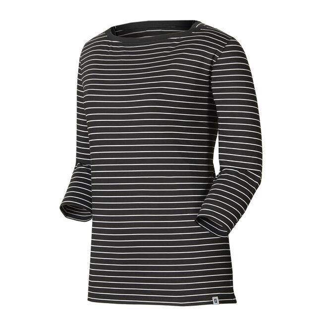Stretch Lisle Stripe Boatneck Shirt Women-Previous Season Style