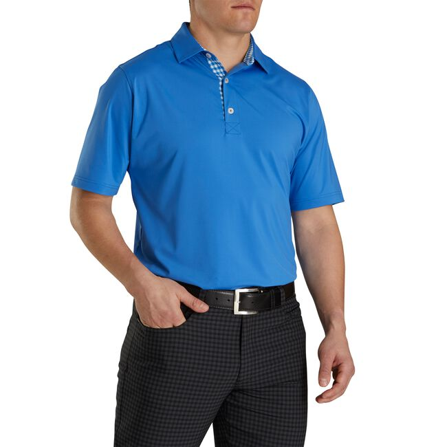 Athletic Fit Lisle Solid Gingham Trim Self Collar
