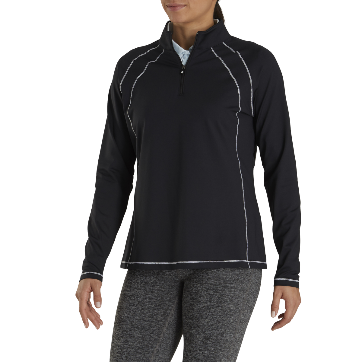 Jersey Knit Quarter-Zip Mid-Layer Women