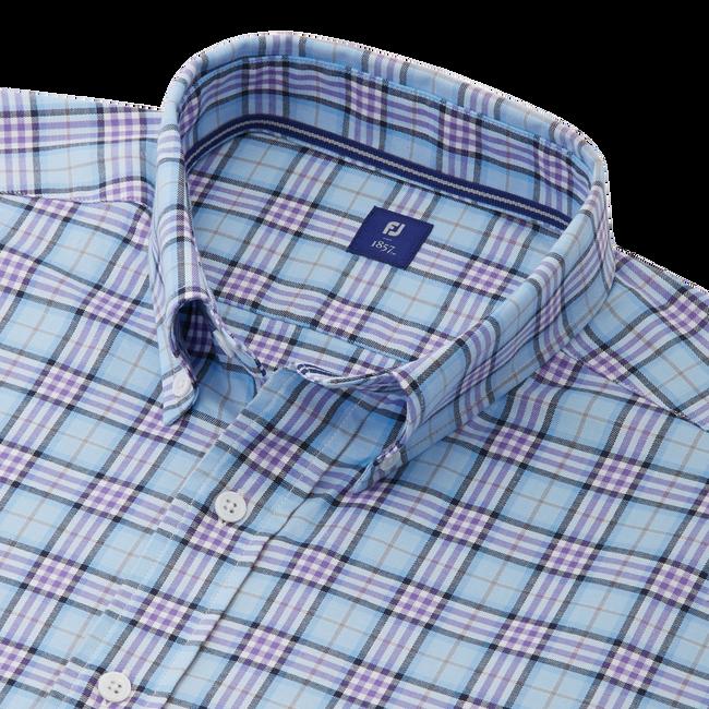 Stretch Twill Woven Open Plaid Shirt-Previous Season Style