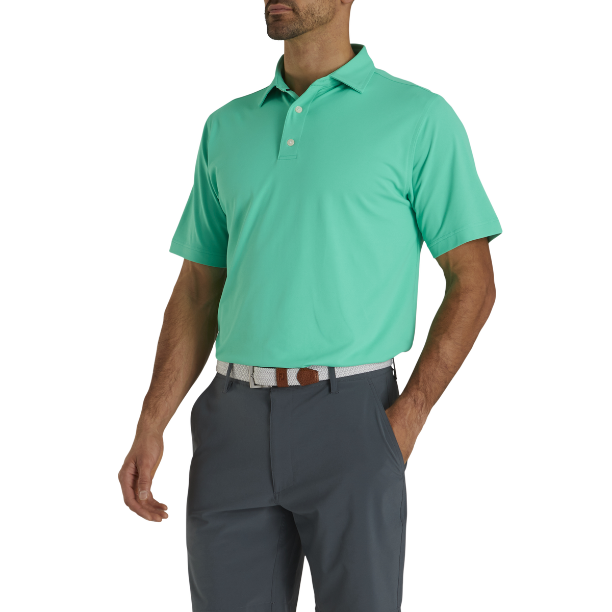 Performance Stretch Pique Solid Self Collar