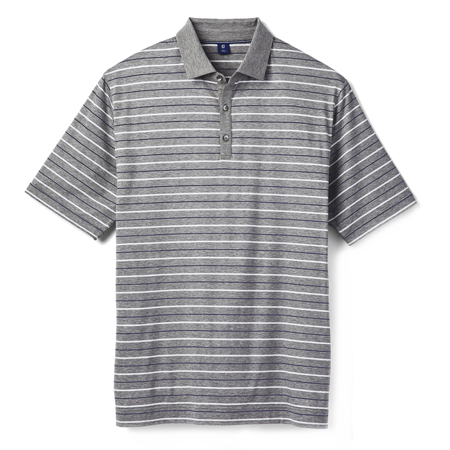 Pima Stripe with Solid Placket & Collar