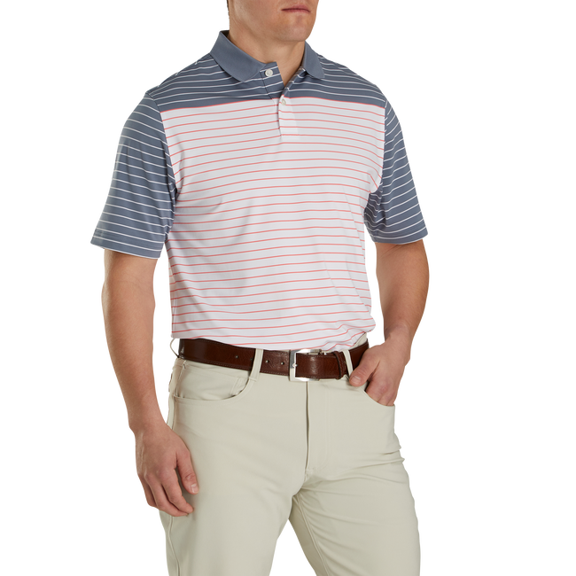 Athletic Fit Lisle Color Block Stripe Knit Collar-Previous Season Style