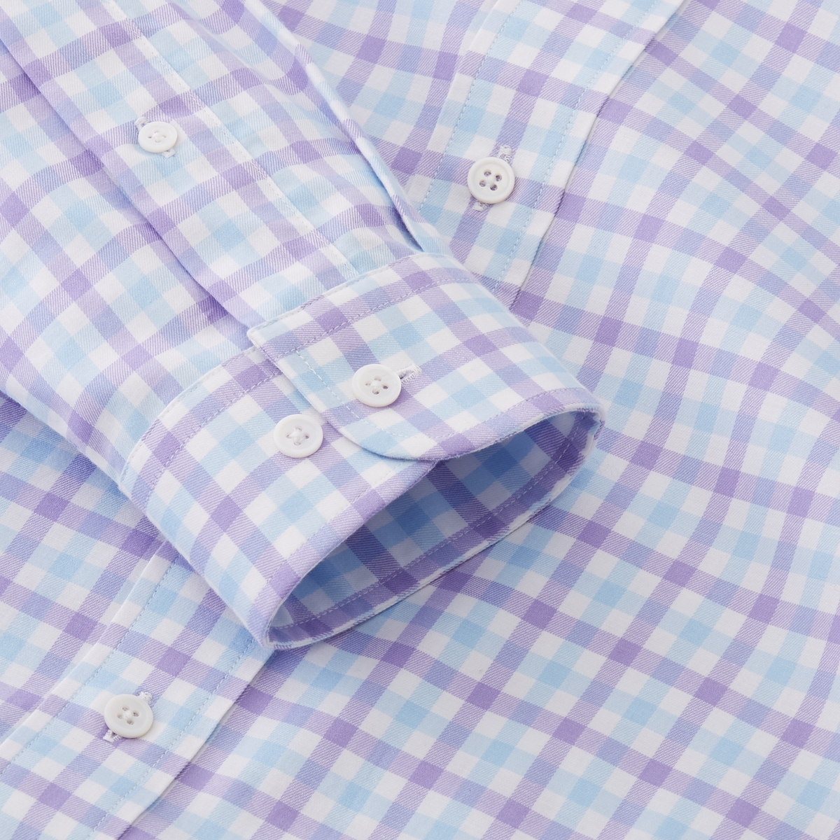 Stretch Twill Woven Gingham Check Shirt