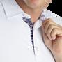 Solid Pique with Stripe Trim Self Collar