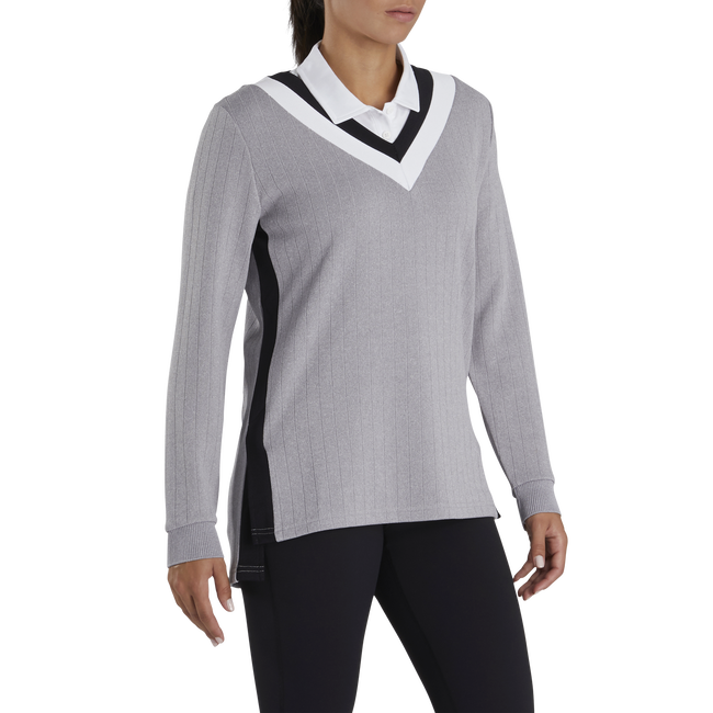 Drop Needle V-Neck Pullover Women