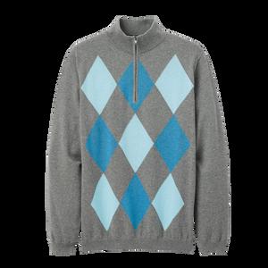 Cotton Cashmere Heather Argyle Sweater -Previous Season Style