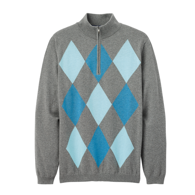 Cotton Cashmere Heather Argyle Sweater