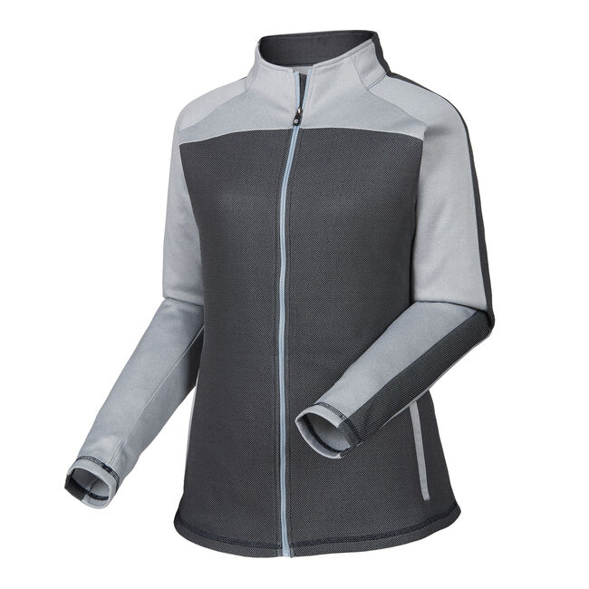 Full-Zip Jacquard Block Mid-Layer Women