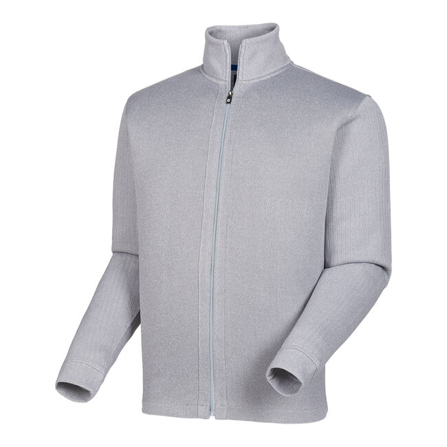 Full-Zip Jersey Knit Mid-Layer with Ribbed Sleeves