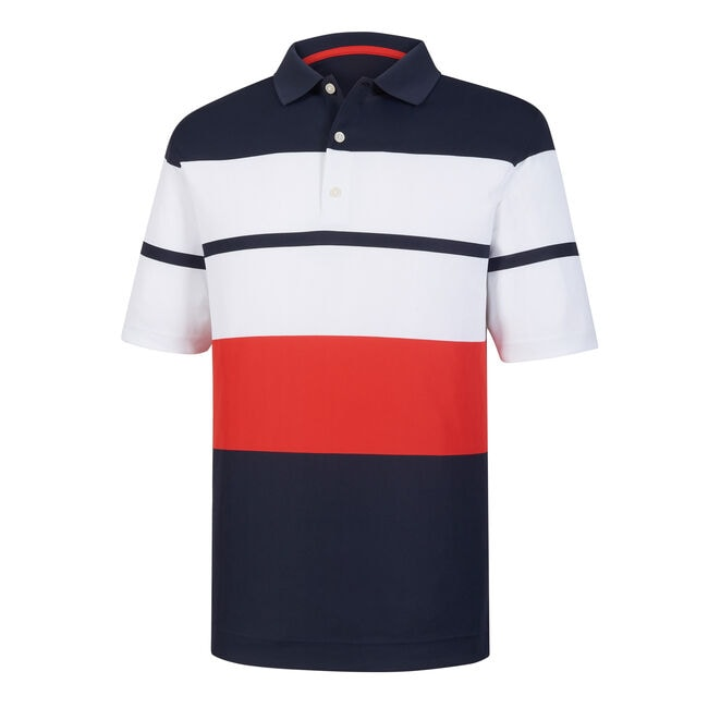 Athletic Fit Color Block Smooth Pique Knit Collar