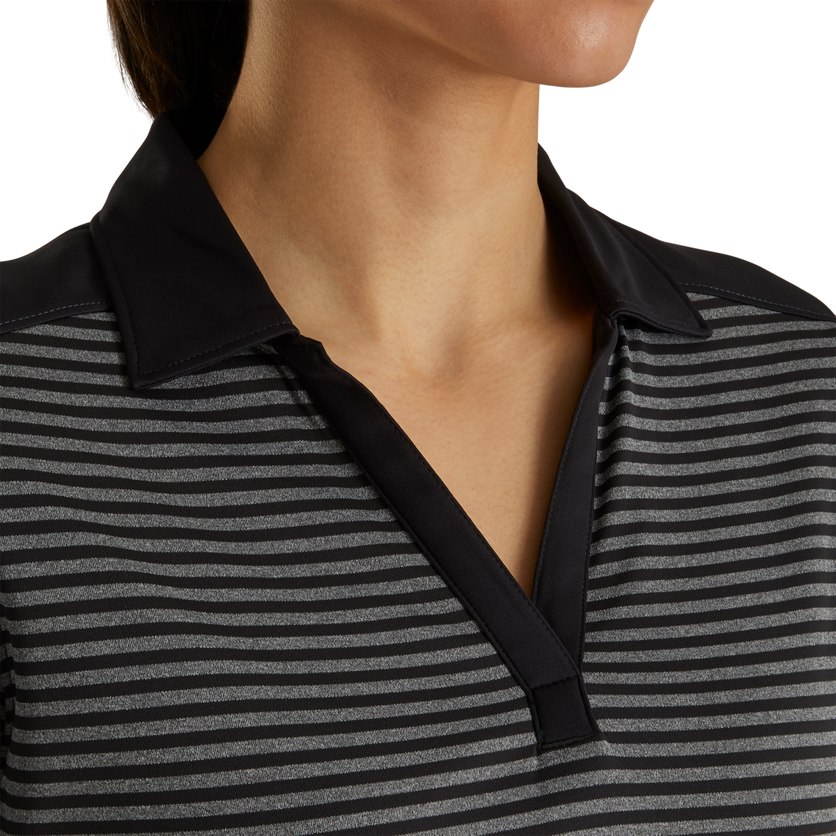 Lisle Tonal Stripe Open Neckline Women-Previous Season Style