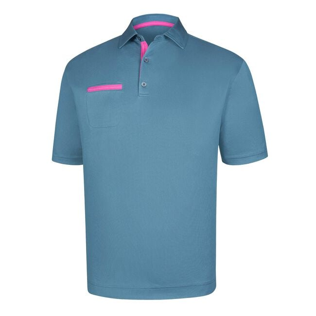 Stretch Pique Solid Chest Pocket Self Collar-Previous Season Style