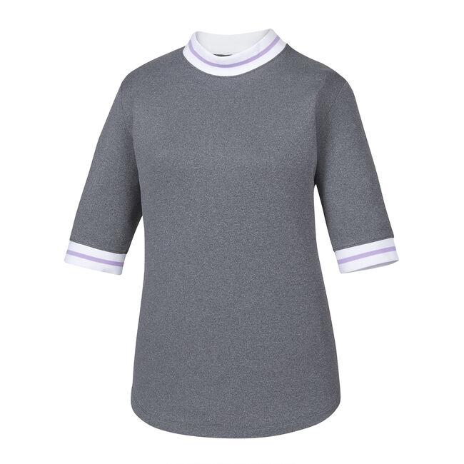 Baby Pique Stripe Trim Mock Short Sleeve Women