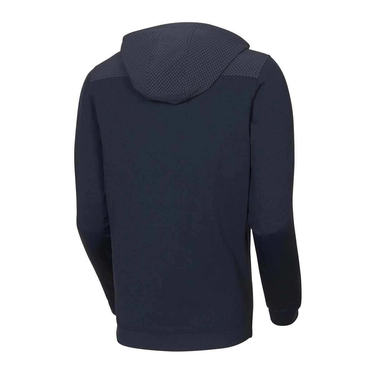 Printed Woven Yoke Half-Zip Hoodie-Previous Season Style