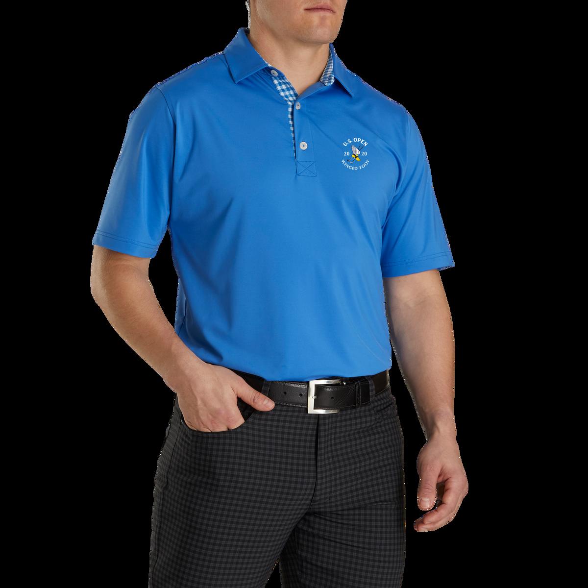 2020 U.S. Open Athletic Fit Lisle Solid Gingham Trim Self Collar