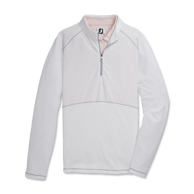 Mix Jersey Rib Quarter-Zip Women