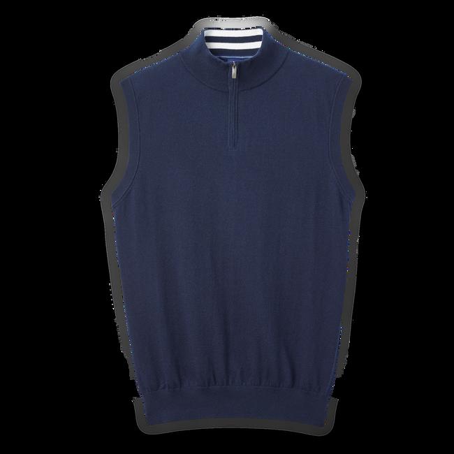 Cotton Cashmere Quarter-Zip Sweater Vest