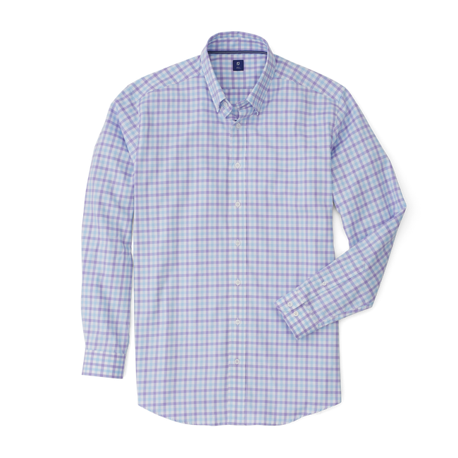 Stretch Twill Woven Gingham Check Shirt-Previous Season Style