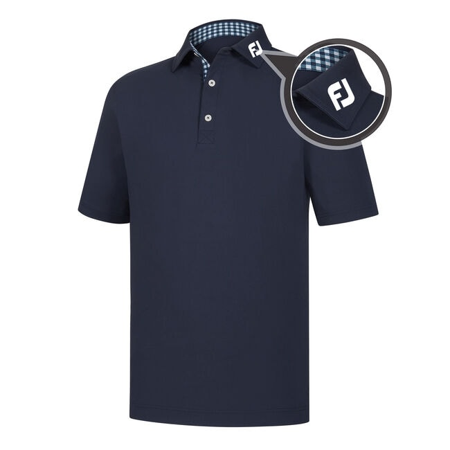 Athletic Fit Lisle Solid Gingham Trim Self Collar - FJ Tour Logo