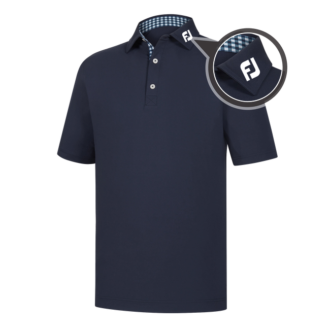 Athletic Fit Lisle Solid Gingham Trim Self Collar - FJ Tour Logo