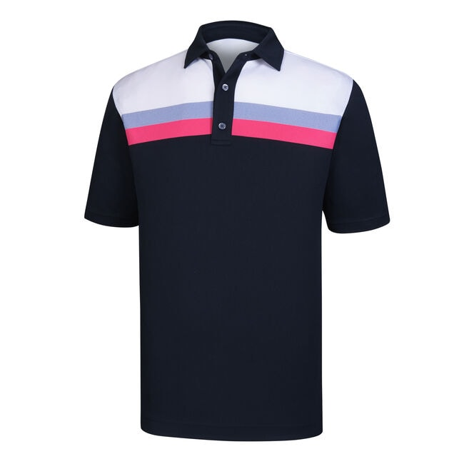 Athletic Fit Pique Color Block + Stripes Self Collar-Previous Season Style