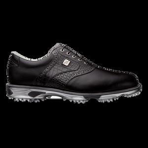 DryJoys Men's Tour Golf Shoes Spiked Saddle in Black / Black Croc Print Size 15 M {53678}