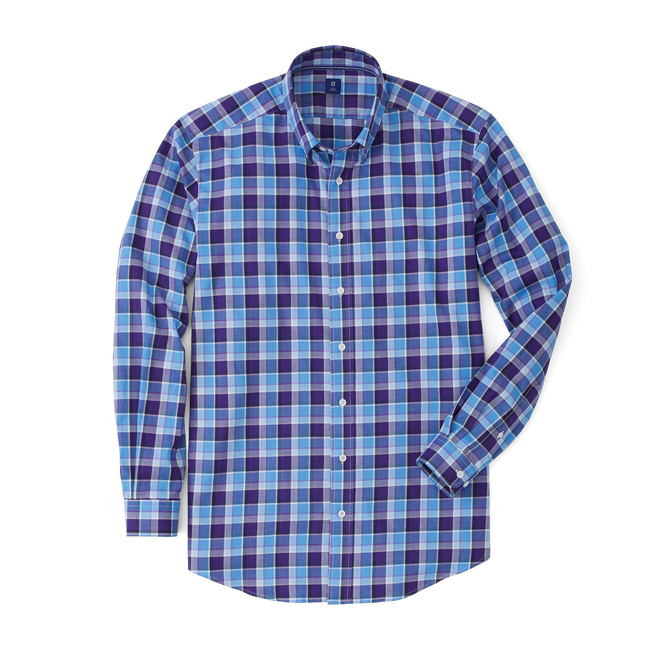 Stretch Twill Woven Multi Large Plaid Shirt-Previous Season Style