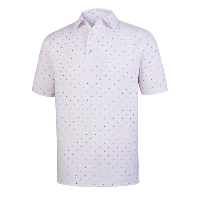 Athletic Fit Lisle Square Print Self Collar-Previous Season Style