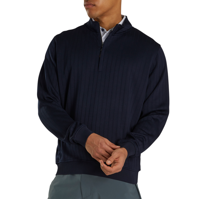 Drop Needle Half-Zip Gathered Waist