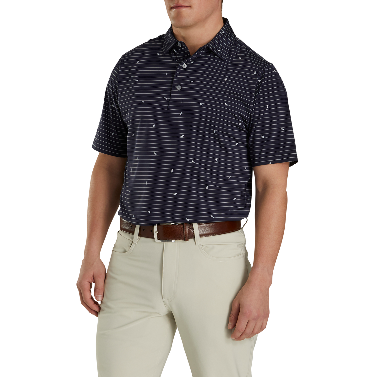 Athletic Fit Lisle Stripe Self Collar-Previous Season Style