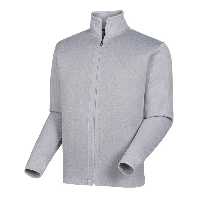 Full-Zip Jersey Knit Mid Layer with Ribbed Sleeves