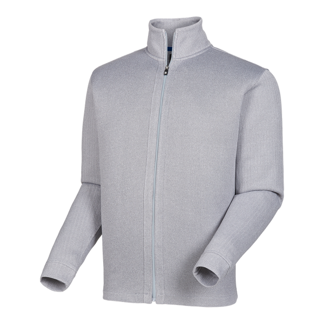 Full-Zip Jersey Knit Mid Layer with Ribbed Sleeves-Previous Season Style